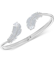 swarovski crystal feather cuff bracelet