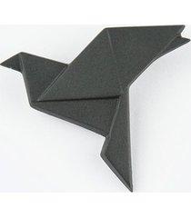 broszka porcelanowa origami gołąb czarna