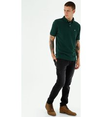 camiseta tipo polo de hombre, manga corta, 100% algodón, color verde oscuro