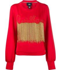 cavalli class bead-embellished sweatshirt - red