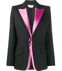 alexander mcqueen double lapel light wool silk blazer - black