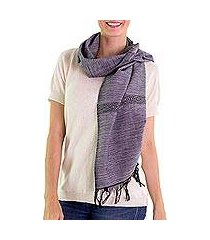 cotton scarf, 'mesmerizing black white' (guatemala)