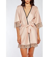 icollection contrast-trim silky robe with eyelash flower lace