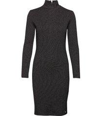 high neck bodycon dress knälång klänning svart superdry