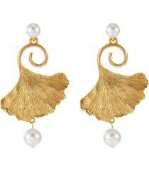 pearl embellished gingko earrings