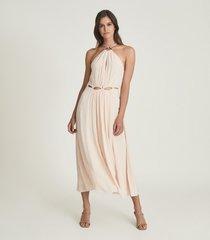 reiss marta - resortwear midi dress in pink, womens, size 14