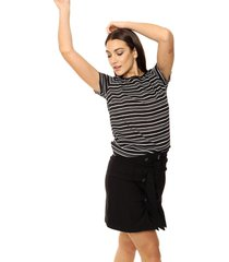 blusa negra etam rayada