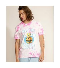 camiseta masculina bob esponja estampada tie dye manga curta gola careca rosa
