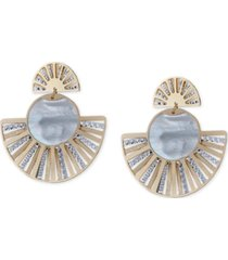 mother-of-pearl two-tone fan drop earrings in sterling silver & 14k gold-plate
