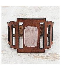 rose quartz wristband bracelet, 'chestnut and rose' (brazil)