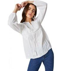 amaro feminino blusa bordada com cordão tassel, off-white