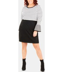 ny collection plus size striped bell-sleeve dress