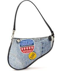 christian dior pre-owned denim saddle tote bag - blue