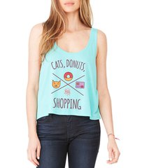 tee bangers cats, donuts & shopping women's teal flowy boxy tank new sizes s-2xl