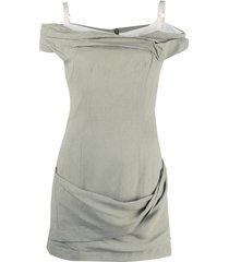 la robe foglio linen mini dress, sage green