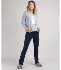 pijama feminino ovelhas manga longa cinza mescla