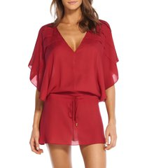 women's vix swimwear vintage pleats cover-up tunic, size large - red