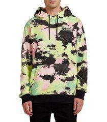 men's volcom marbram splash dye pullover hoodie, size small - green
