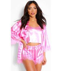 satijnen gestreepte kanten ochtendjas, hemdje en shorts set, roze