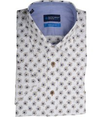 bos bright blue overhemd wit print korte mouw 20107wo37bo/365 khaki