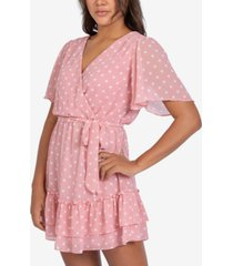 b darlin juniors' crossover dot-print a-line dress