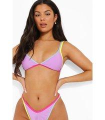 driehoekige bikini top met volle cups en naaddetails, lilac
