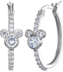 disney cubic zirconia mickey mouse hoop earrings in sterling silver