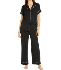 women's nordstrom lingerie moonlight crop pajamas, size medium - black