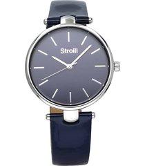 orologio solo tempo con cinturino in pelle blu, cassa acciaio silver per donna