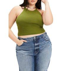 plus size women's good american crop sweater tank
