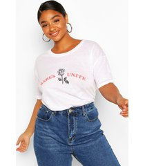 plus babes unite rose slogan t-shirt, white