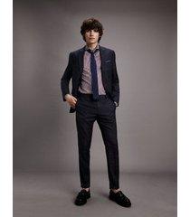 tommy hilfiger men's slim fit virgin wool suit navy - 42