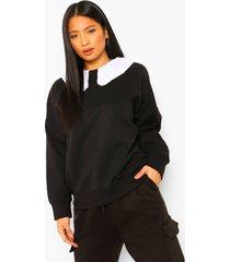 petite oversized sweater met ruches en peter pan kraag, black