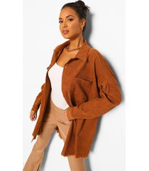 oversized corduroy blouse met gerafelde zoom, camel