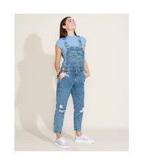 macacão jeans feminino destroyed com bolsos azul médio