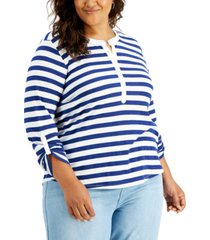 style & co plus size cotton striped top, created for macy's