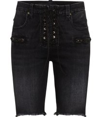 unravel project lace-up knee length shorts - black