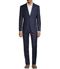 slim-fit windowpane plaid wool-blend suit