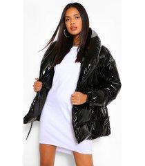 glanzende gewatteerde jas met ceintuur, zwart