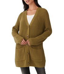 women's lucky brand traveling ribbed long cardigan, size small - green