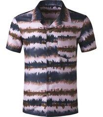 pocket patch print casual beach shirt