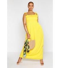 plus geplooide maxi jurk met schouderstrikjes, geel