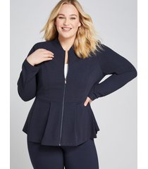 lane bryant women's zip-front peplum jacket 26 night sky