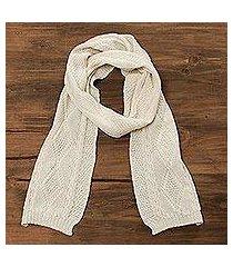 100% alpaca scarf, 'alabaster diamonds' (peru)