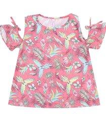blusa abrange menina folhagem rosa