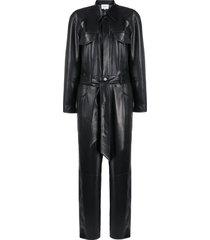 nanushka ashton vegan leather jumpsuit - black
