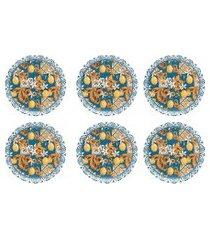 conjunto 6 pratos de sobremesa 19cm oxford unni siciliano azul/amarelo