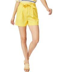 women's court & rowe tie waist windowpane shorts, size 4 - yellow