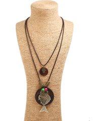 collana pendente d'epoca in cera corda di legno cavo di pesce multistrato collana di gioielli etnici per lei