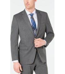 chaps men's classic-fit stretch wrinkle-resistant gray sharkskin suit jacket